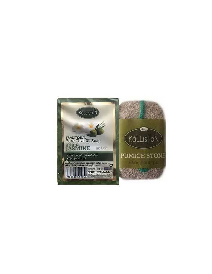 Kalliston Set Olive Oil Soap Jasmine & Pumice Stone 100gr 6433 Kalliston Natural Care Soaps €2.40 €1.94