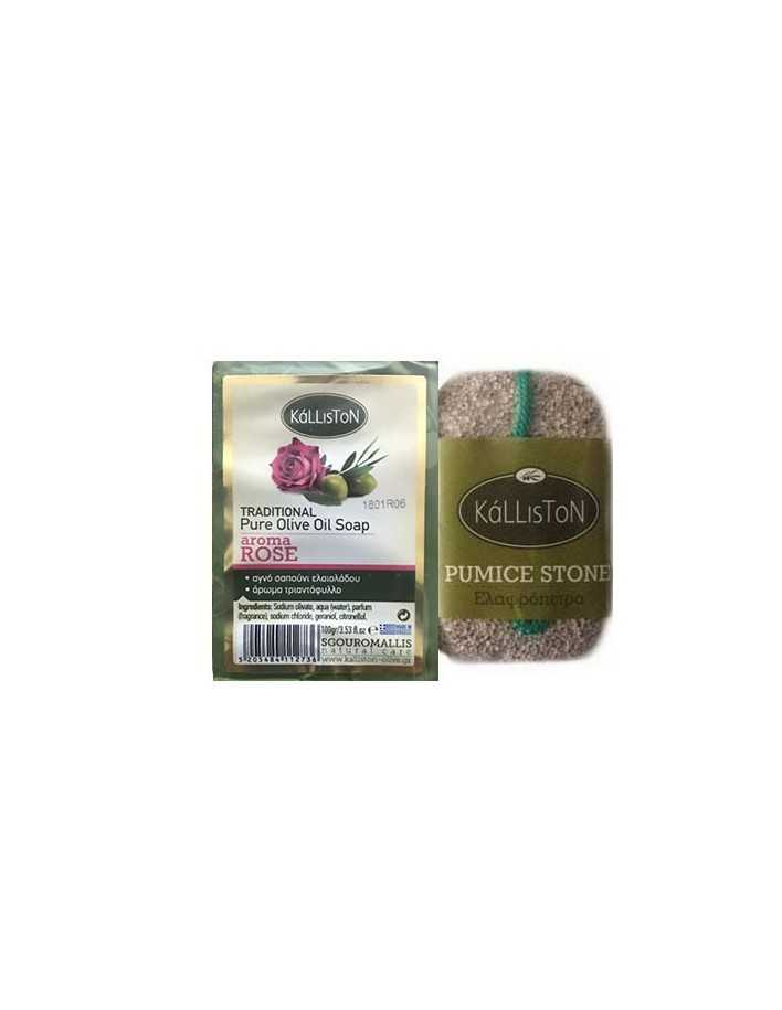 Kalliston Set Olive Oil Soap Rose & Pumice Stone 100gr 6434 Kalliston Natural Care Soaps €2.40 €1.94