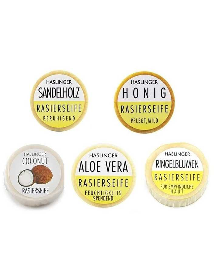 Haslinger Pack Shaving Soap Aloe Vera 60gr & Coconut 60gr & Marigold 60gr & Sandalwood 60gr & Honey 60gr 3198 Haslinger Σαπού...