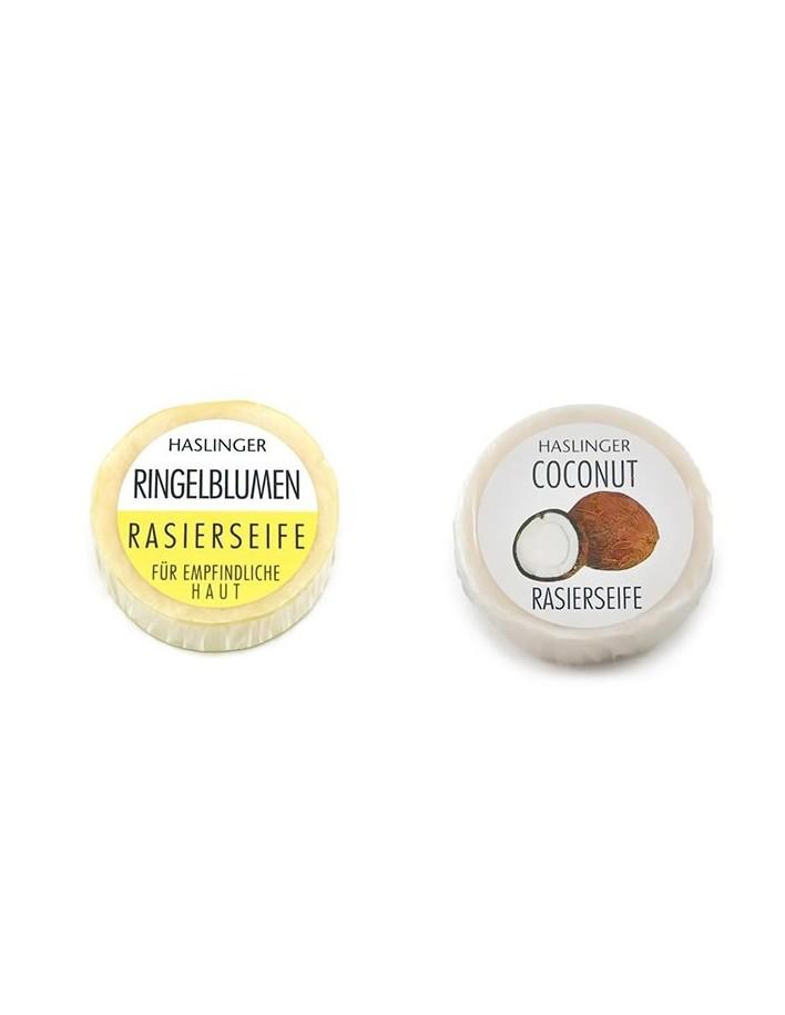 Haslinger Pack Shaving Soap Marigold 60gr & Coconut 60gr 3200 Haslinger Σαπούνια Ξυρίσματος €9.80 product_reduction_percent€7.90