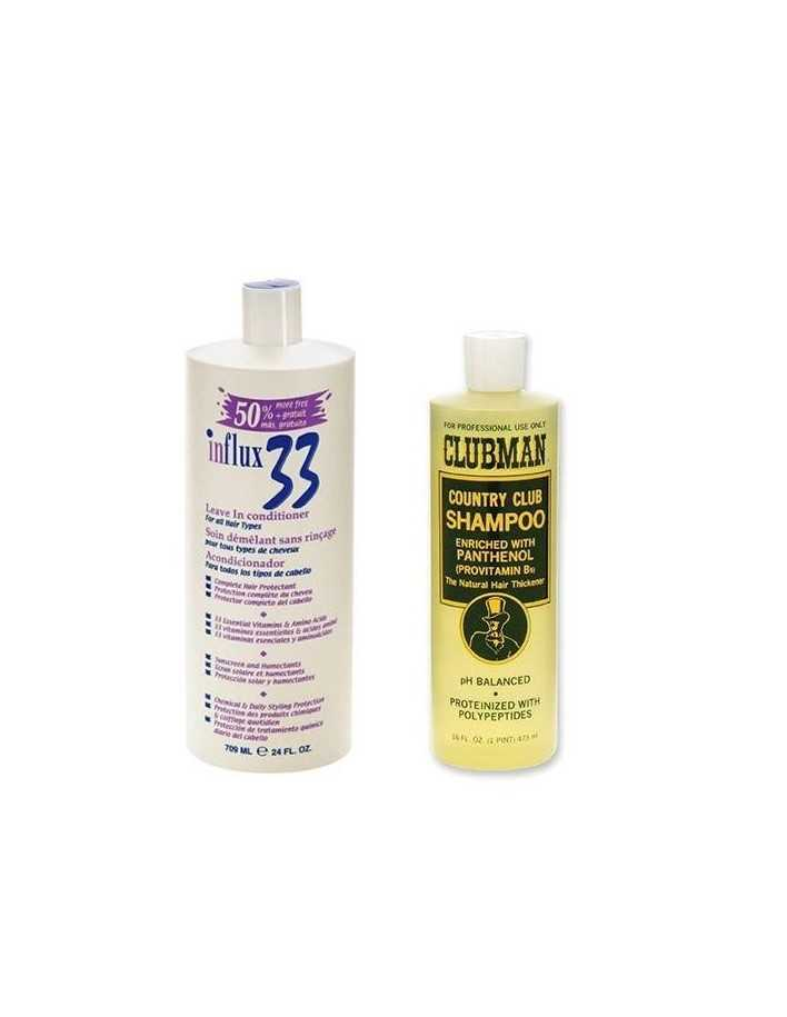 Pack Clubman Shampoo 473ml & Influx 33 Conditioner 709ml